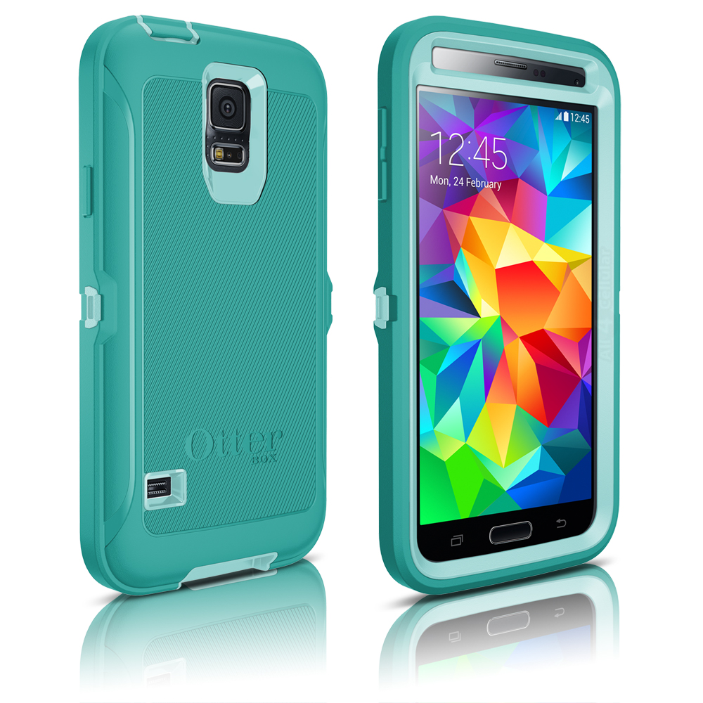 check out dcbc2 9e4f7 OtterBox Defender Case for Samsung Galaxy S5 - Aqua Blue (Blue/Light Teal)