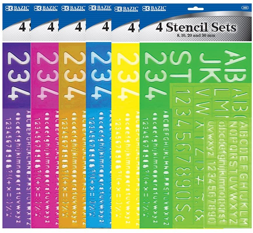 BAZIC 8, 10, 20, 30 mm Size Lettering Stencil Sets, 4 Per Pack