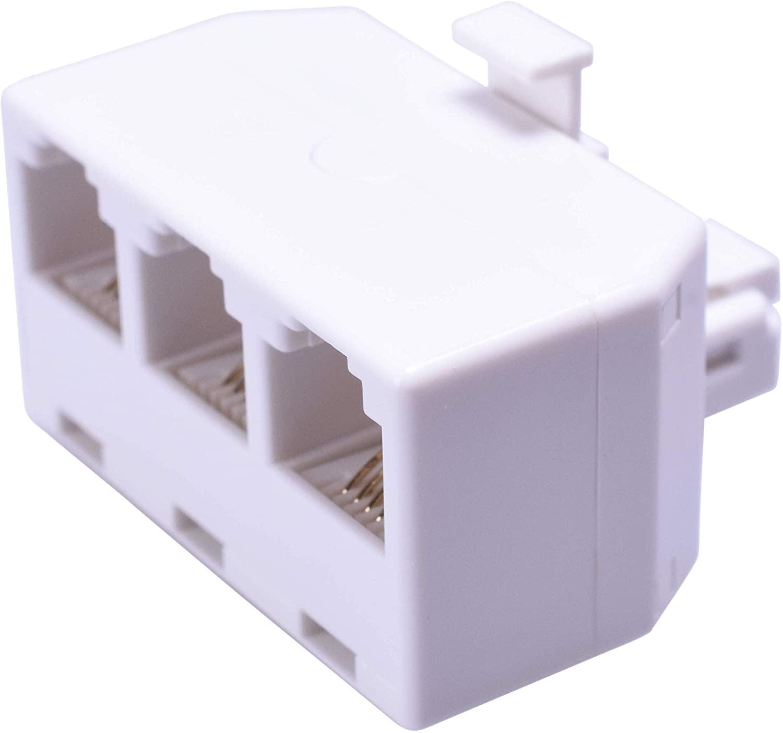 AmerTac - Zenith TS1001SPJ3W 4 Conductor Triplex Jack, White Landline Telephone Accessory