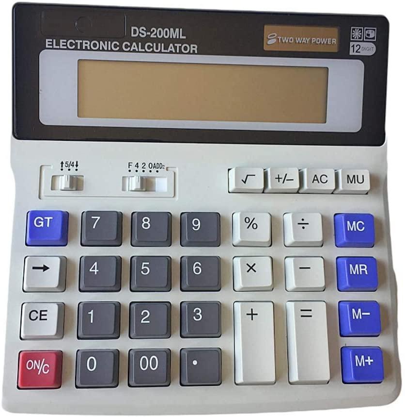 Yeawooh Desktop Calculator 12-Digit Standard Function DS-200ML Solar Battery Dual Power Calculator