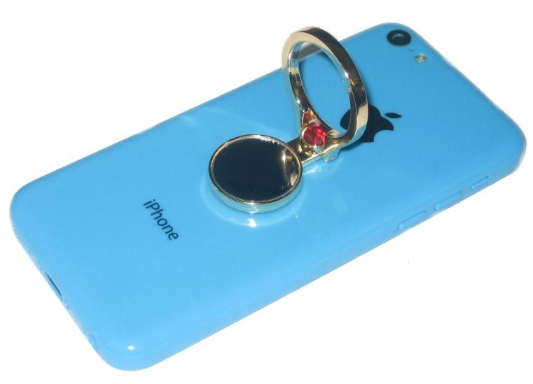 KuKu Mobile Cell Phone Finger Ring Stand Holder w/ Mirror - Gold