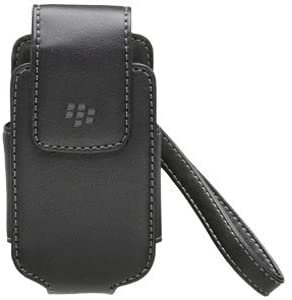 BlackBerry 8220, 8230 Pearl Flip Leather Tote Pouch with Carry Strap, Black