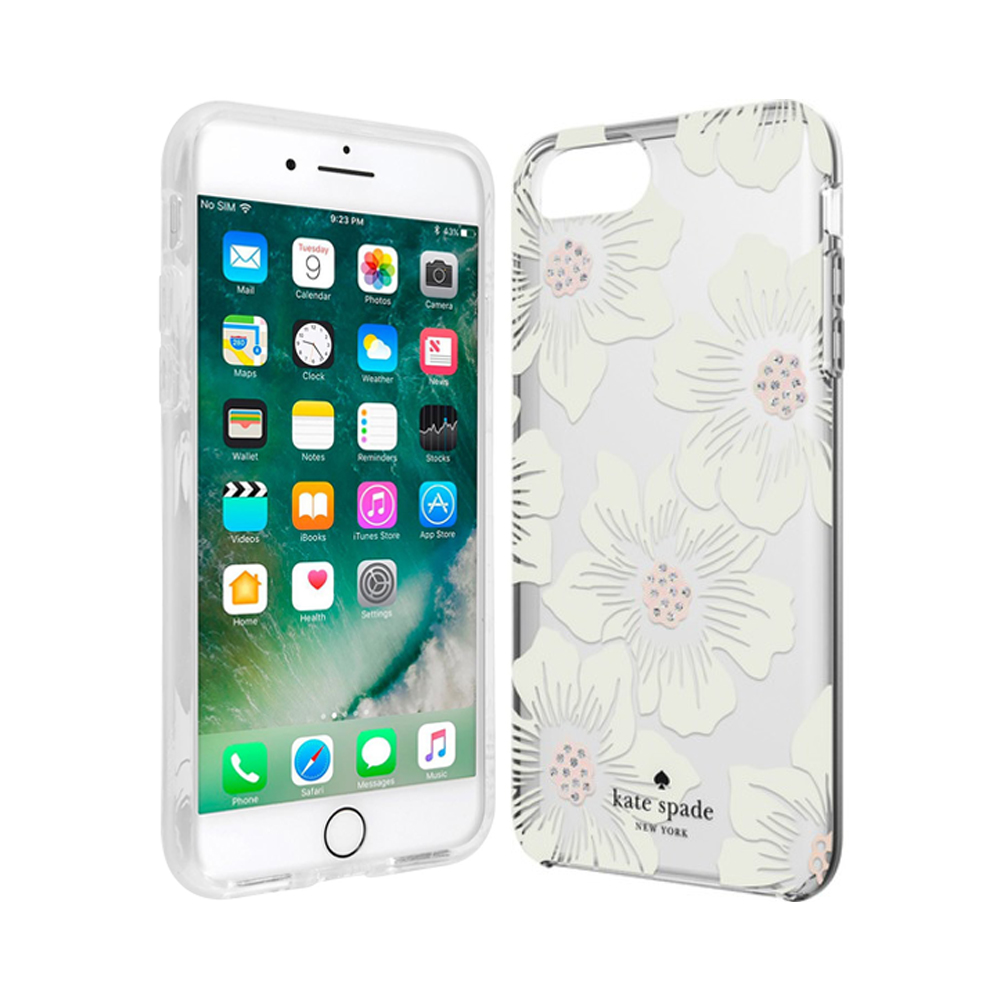 9423f8ab7 kate spade new york Flexible Hardshell Case for iPhone 7 - Hollyhock Floral  Clear/Cream with Stones