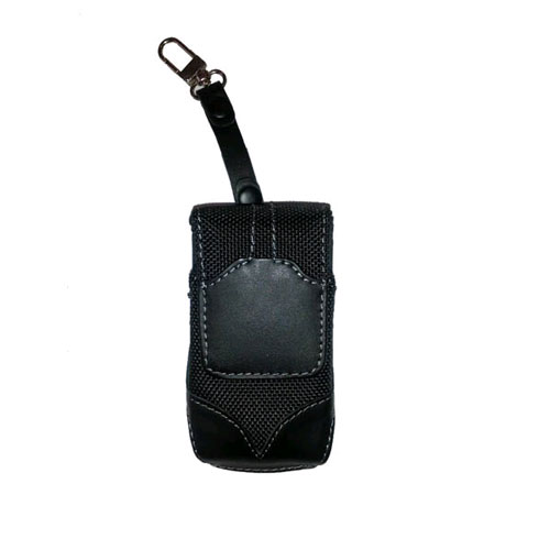 WAU Titan Vertical Leather & Nylon Pouch with Swivel Belt Clip for Motorola V3m - Black