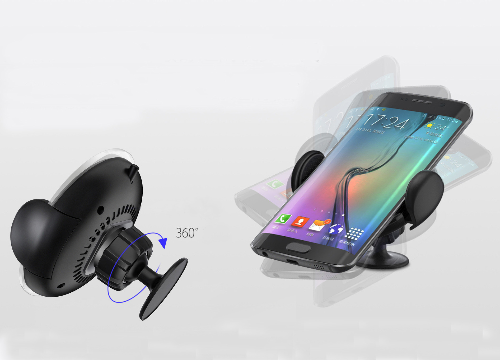 Kuku Car Mount Wireless Charger 360 Rotation For Safe Driving Ventilation Holder T360 Air Vent Phone All Qi Enabled Devices
