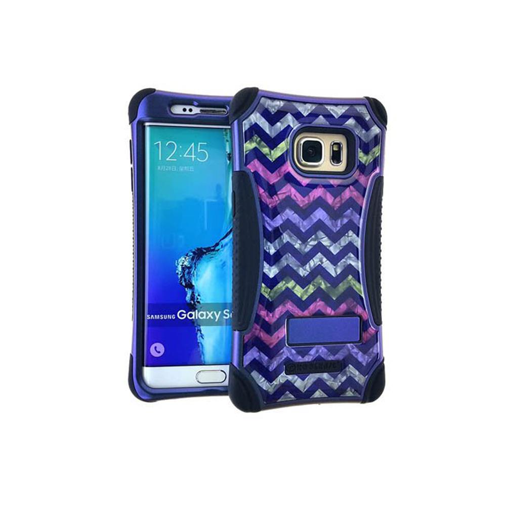 Unlimited Cellular Kicker Case for Galaxy S6 Edge Plus - Crystal Design/Chevron/Black Skin
