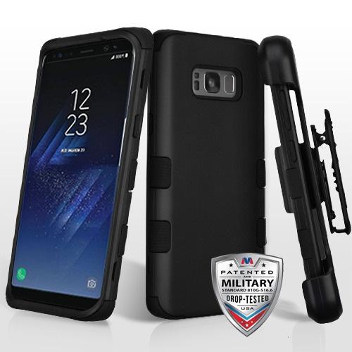 MYBAT Rubberized TUFF Hybrid Case w/ Holster for Galaxy S8 Plus - Black/Black