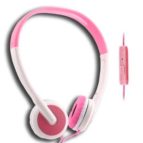 UMA - Lightweight 3.5mm Stereo Headphones - White / Pink