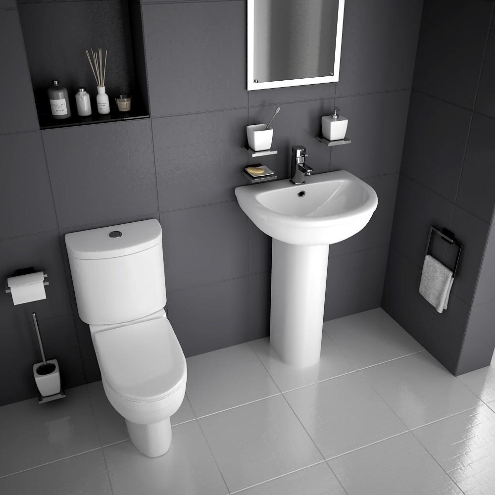 Bathroom Toilet WC Pan Dual Flush Cistern and Basin Sink Pedestal ...