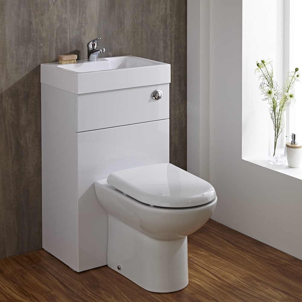 Compact Bathroom White Combination Toilet Wc Amp Basin Sink Unit