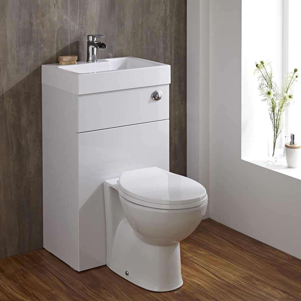 Linton Space Saving Bathroom White Combination Toilet WC & Basin ...