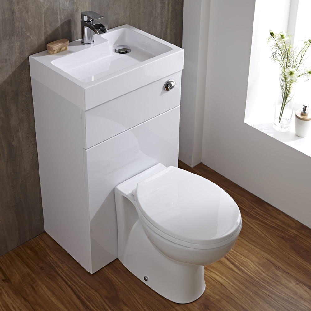 linton space saving bathroom white combination toilet wc. Black Bedroom Furniture Sets. Home Design Ideas