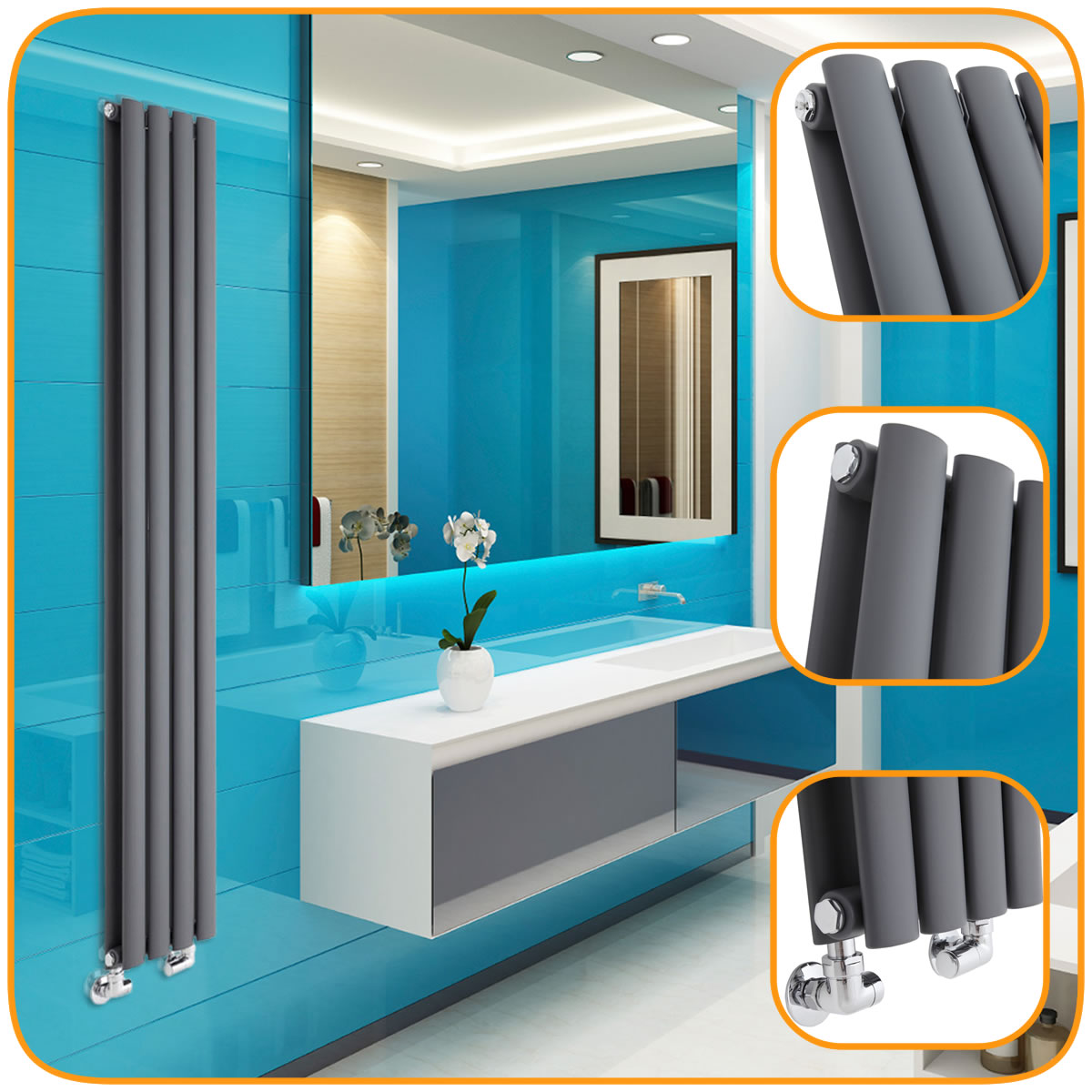 Anthracite Vertical Designer Radiators - Upright Column - Modern ...