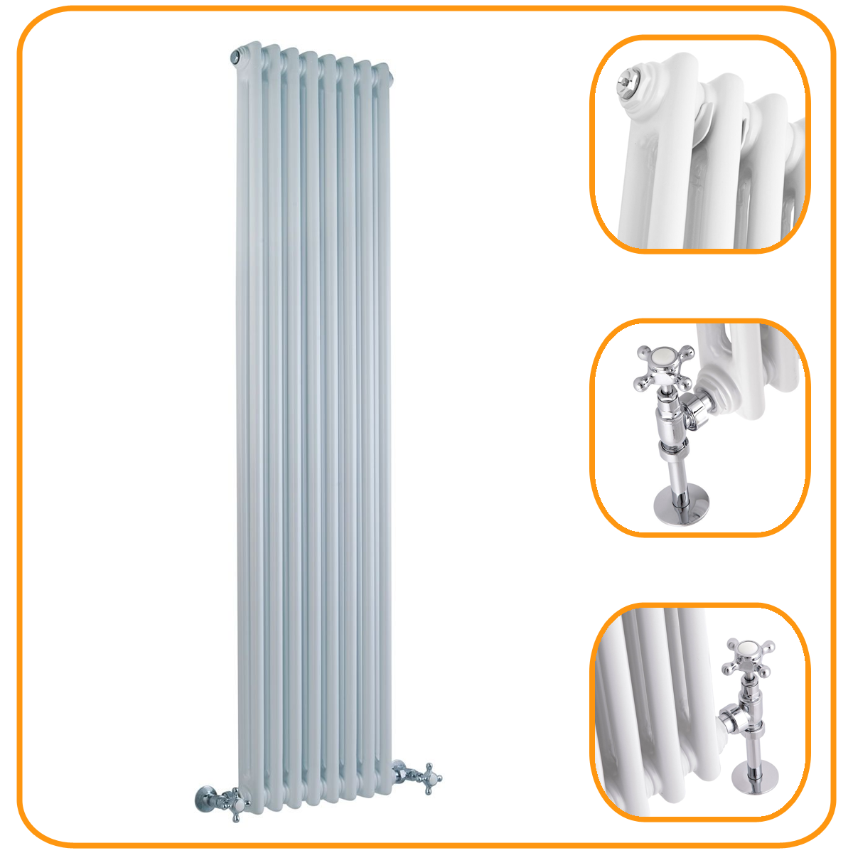 Traditional White Double Column Radiator Classic Cast Iron Style ...
