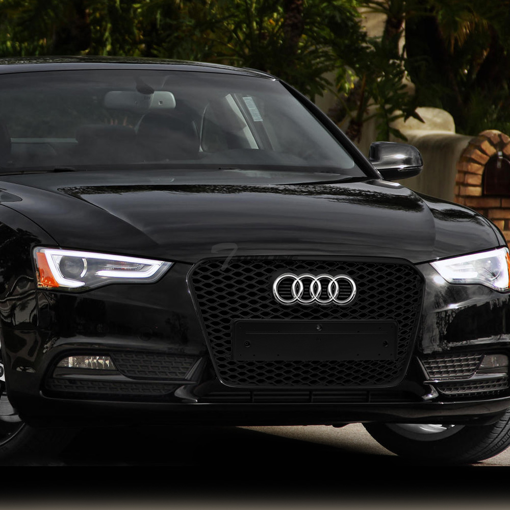 S4 B8.5 Topline Autopart Black RS-Honeycomb Mesh Front Hood Bumper Grill Grille ABS For 2013-2015 Audi A4