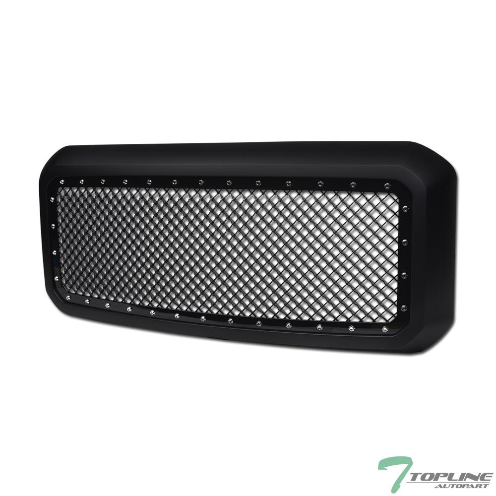 For 2011-2016 Ford F250//F350 Superduty Black Rivet Bolt Steel Mesh Bumper Grille