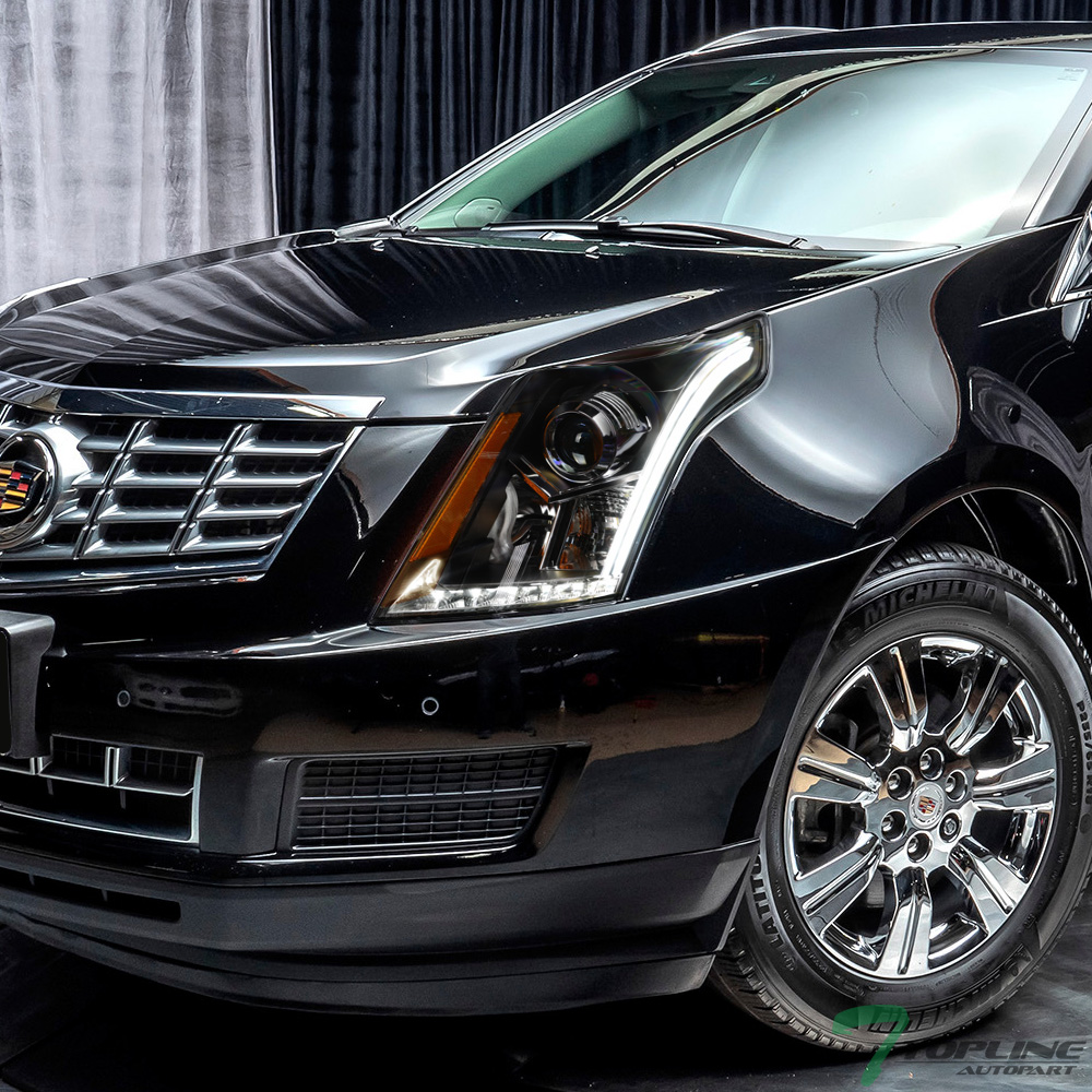 srx cadillac headlights led projector bar blk drl matte topline