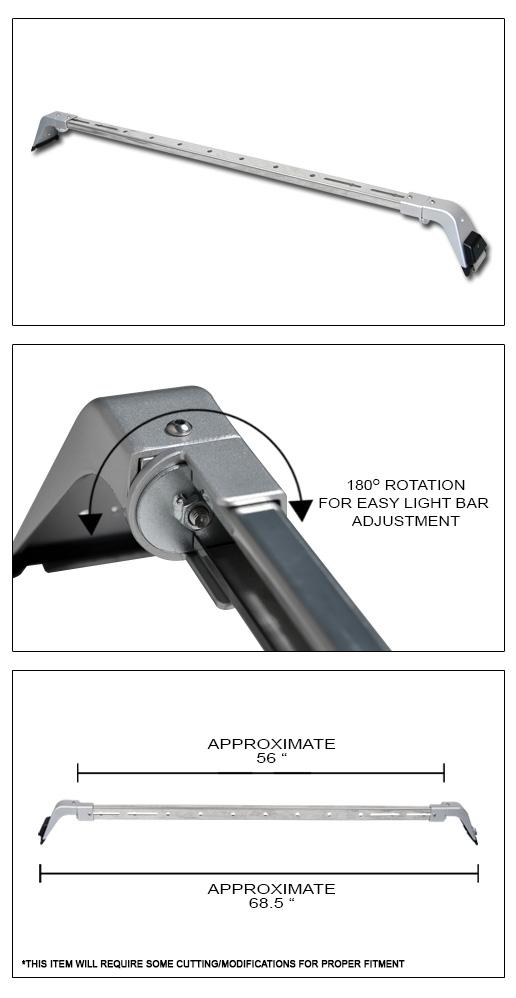 Rota Deluxe Chrome Off Road Light Bar Mount Roof Gutter