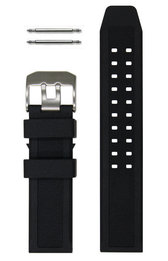 23mm Black Rubber Silicone Replacement Watch Band Strap Luminox PVD ... e5f50a421