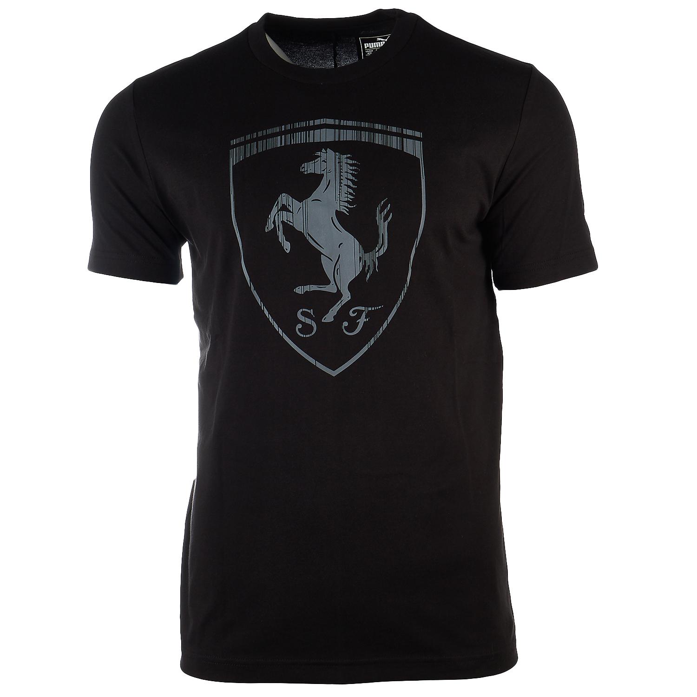 Image is loading Puma-FERRARI-BIG-SHIELD-TEE-Puma-Black-Mens-