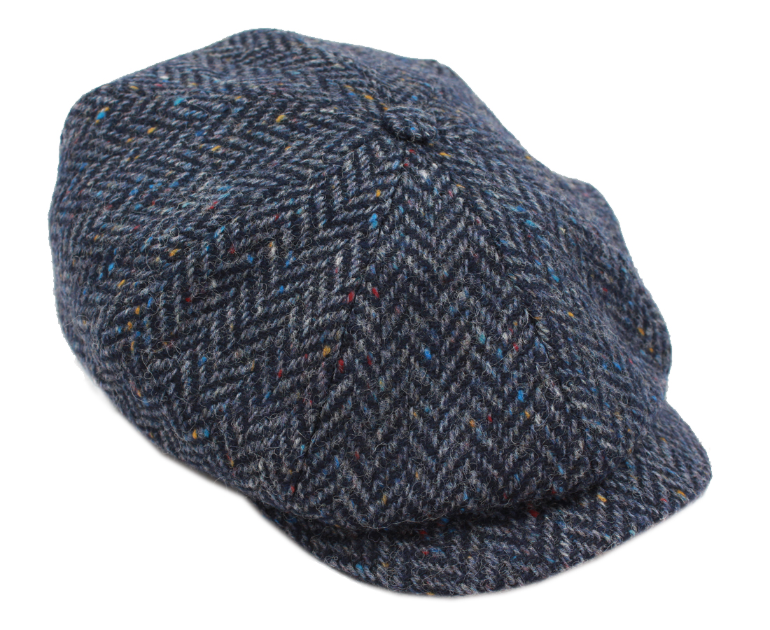 963dc49b Irish Tweed Caps 8 Piece Navy Herringbone Wool Made in Ireland XL SKU: 8P  H27 XL