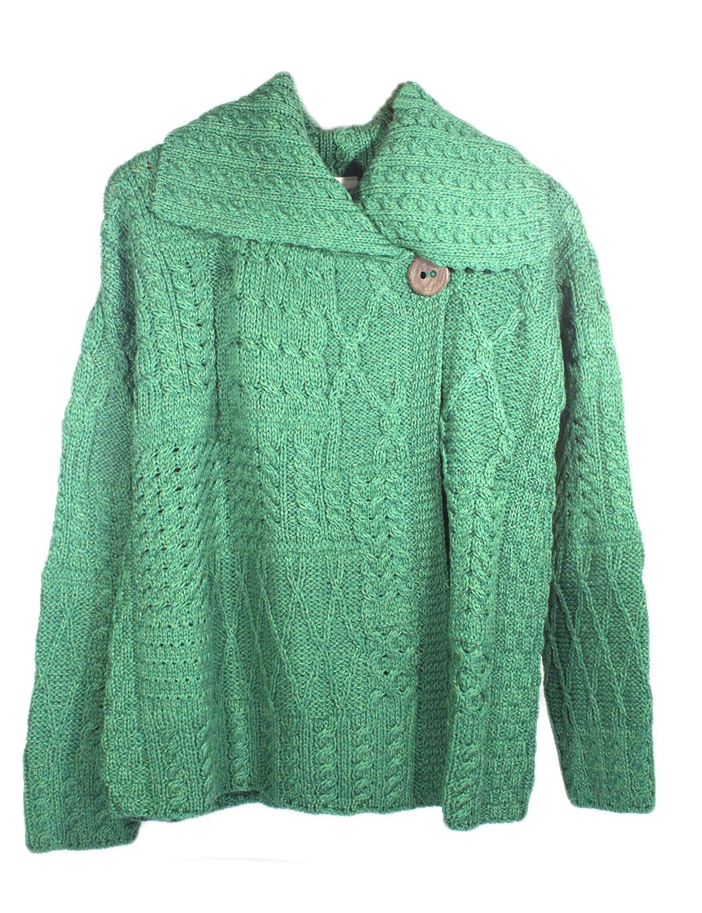 New Aran Cardigan Sweater Merino Wool Womens Irish Made Carraig ...
