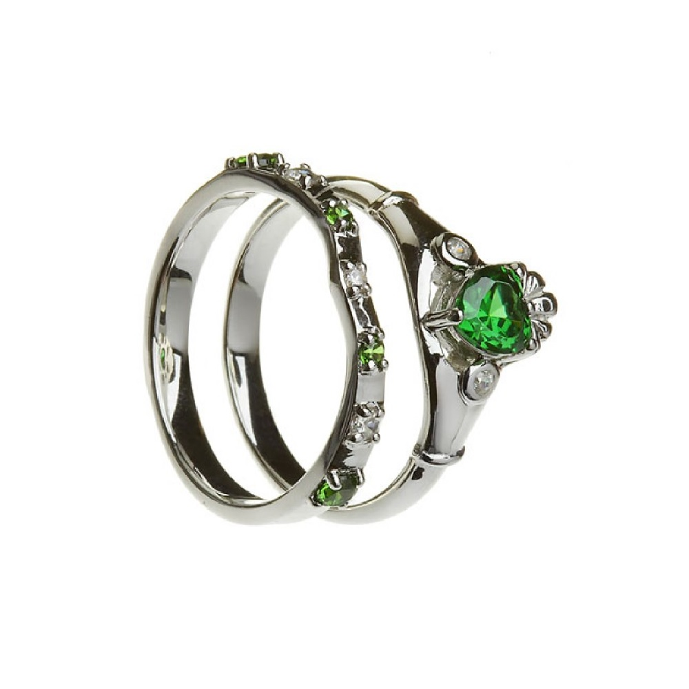claddagh ring band sterling silver synthetic emerald. Black Bedroom Furniture Sets. Home Design Ideas