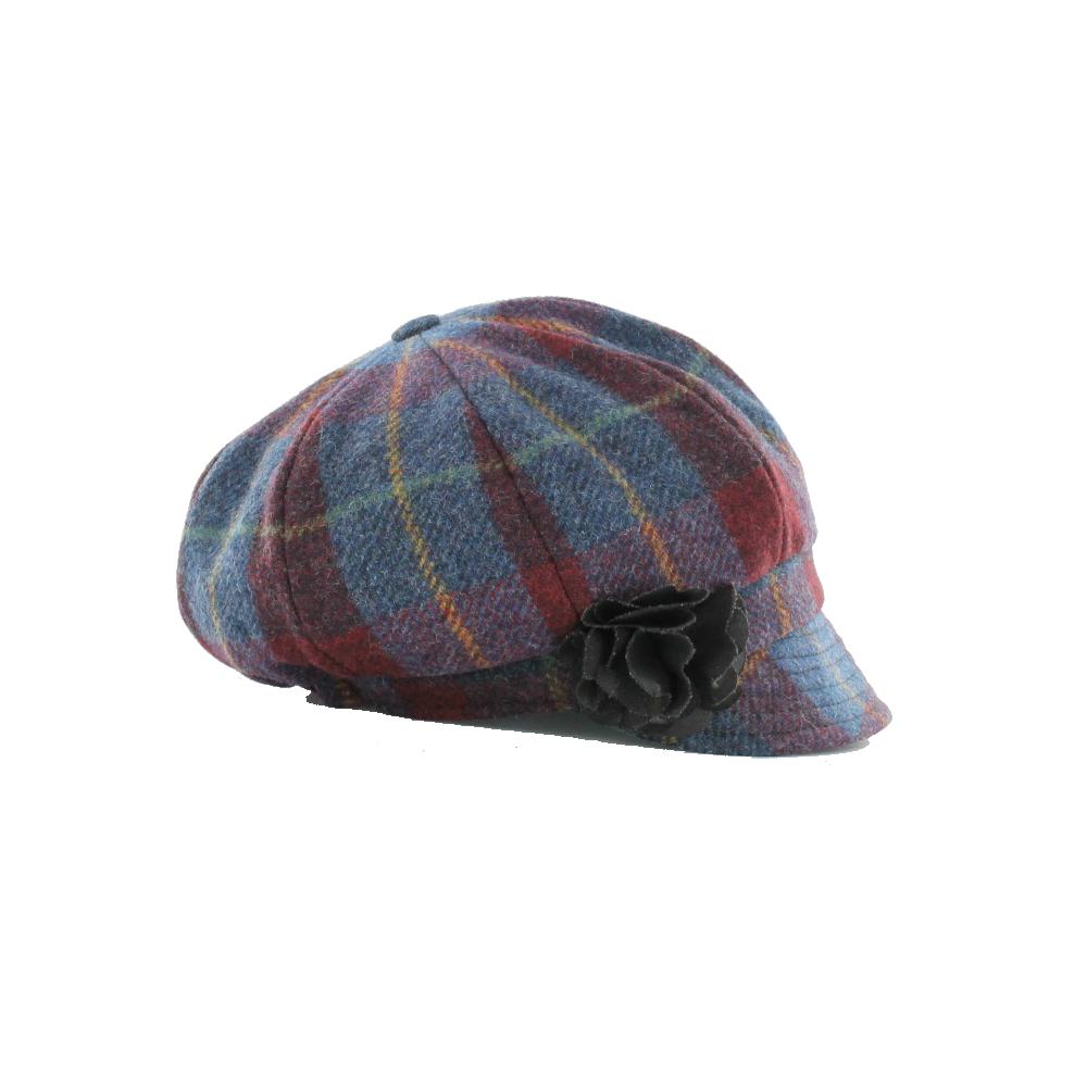 9fe97ccb5fc Womens Newsboy Cap 100 Wool Irish Made Blue Plaid