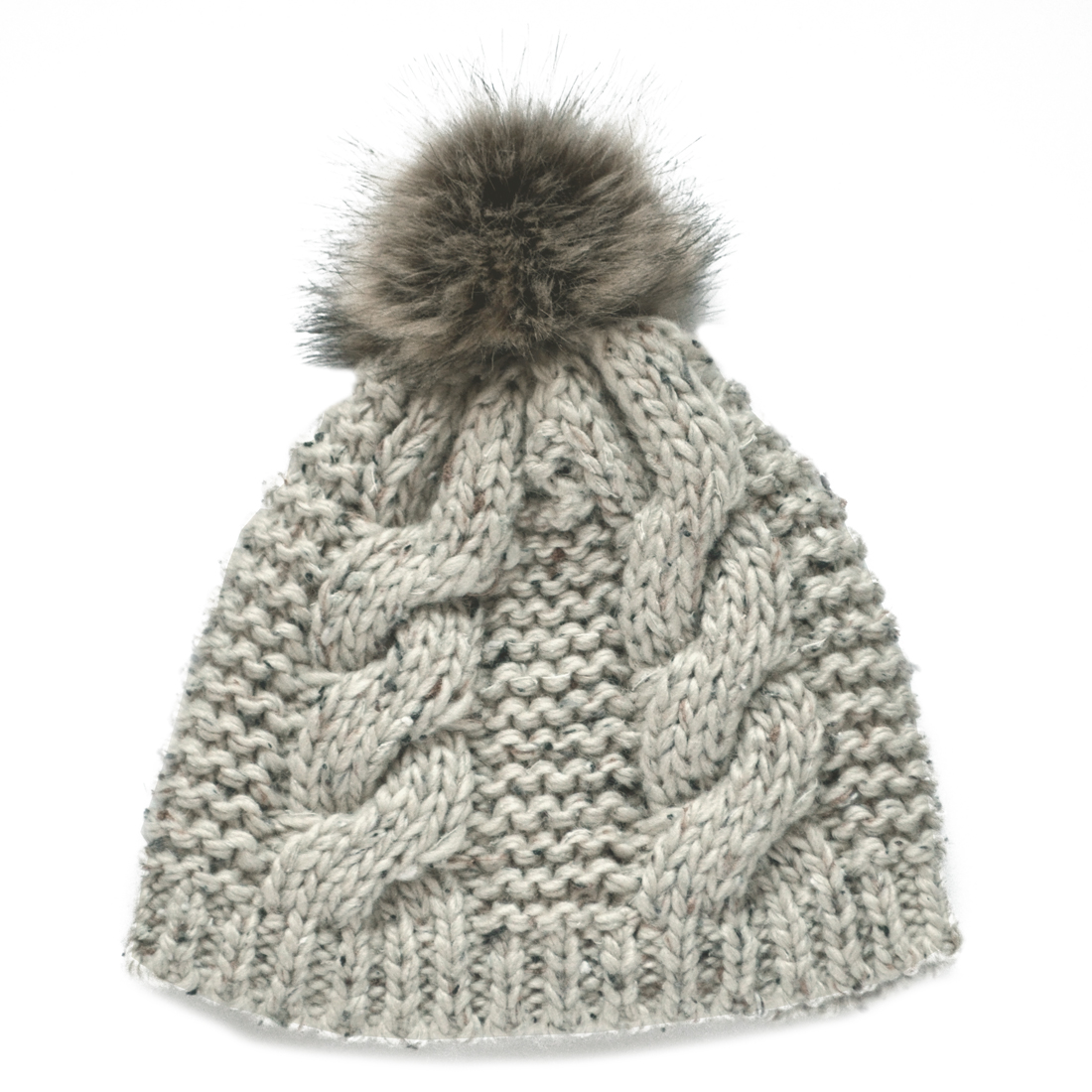 7d066dca7d6 Details about New Fur Bobble Knit Hat Ladies Oatmeal Fleck from Ireland