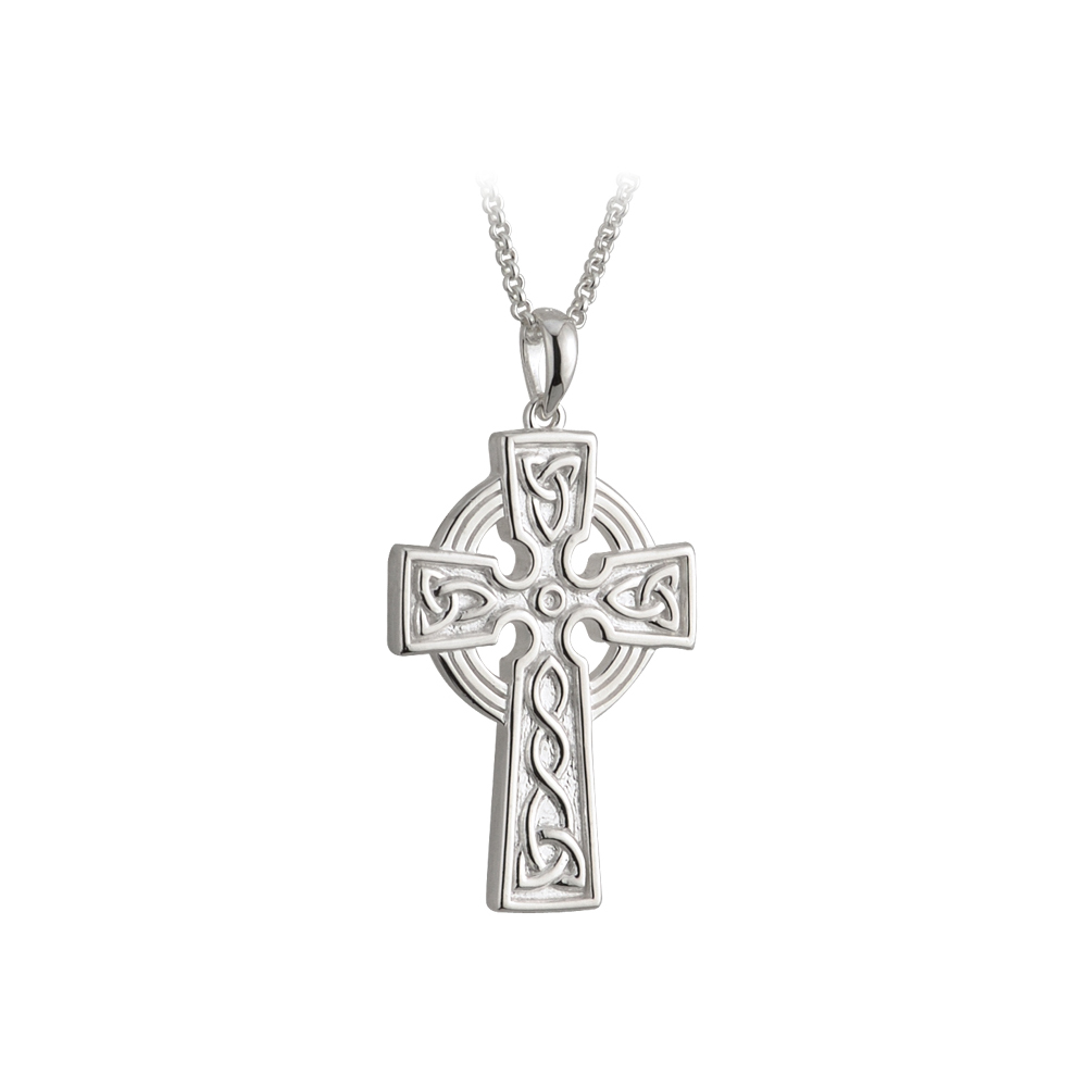 cross white celtic gold pendant necklace