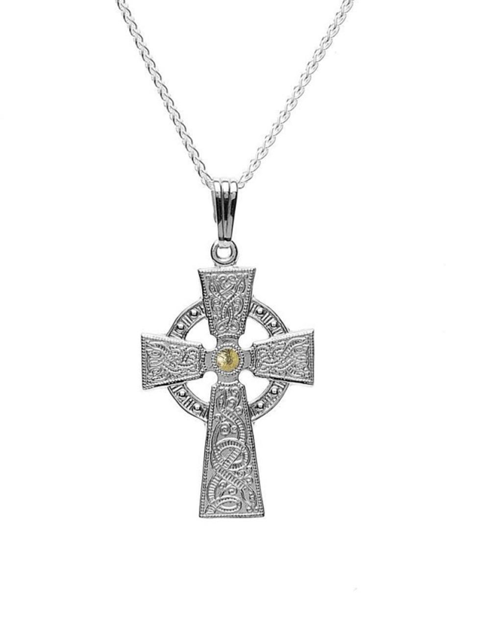 f177f975c1a9a New Celtic Warrior Cross Silver   18K Gold Plate Irish Made Boru ...