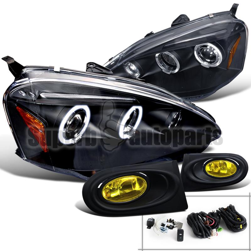2002-2004 Acura RSX LED Halo Headlights Black+Bumper Fog