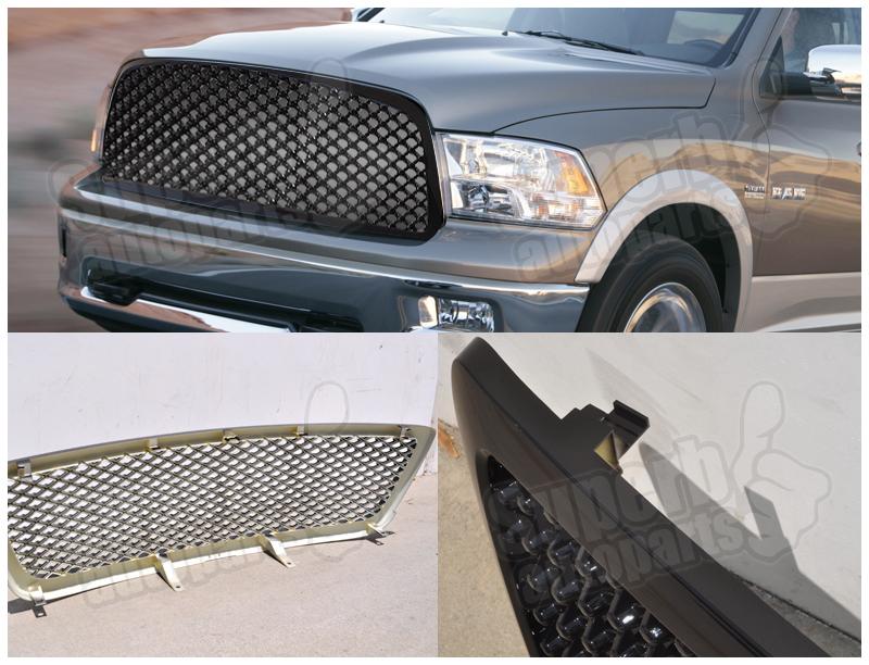 2009 2012 dodge ram 1500 abs mesh front hood grille black ebay. Black Bedroom Furniture Sets. Home Design Ideas