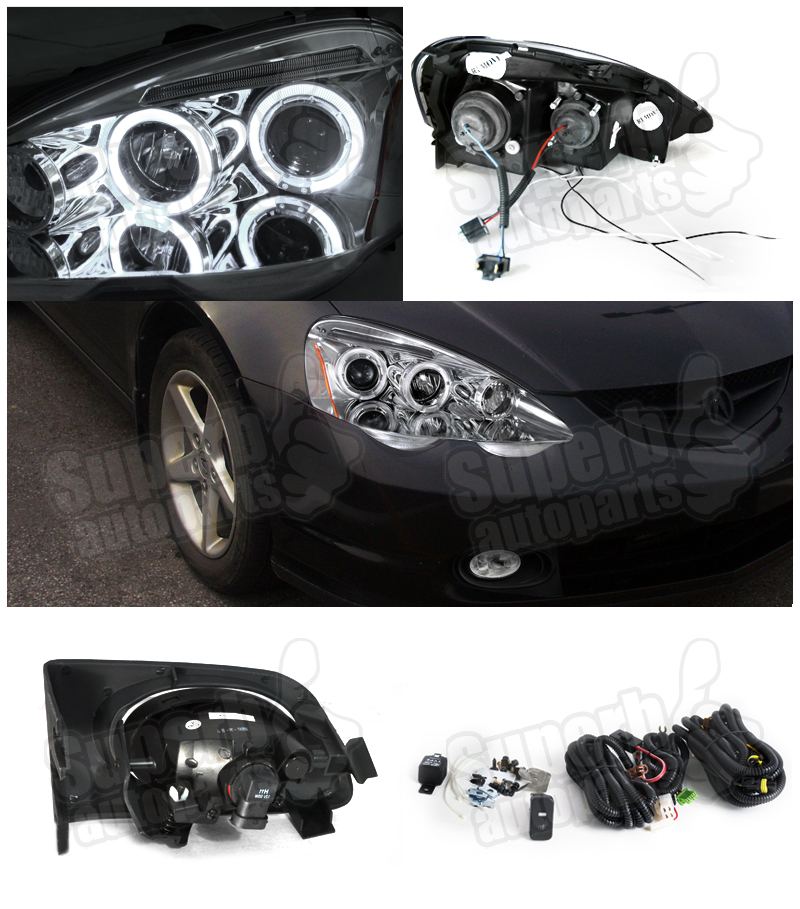 2002-2004 Acura RSX Halo LED Projector Headlights+Driving