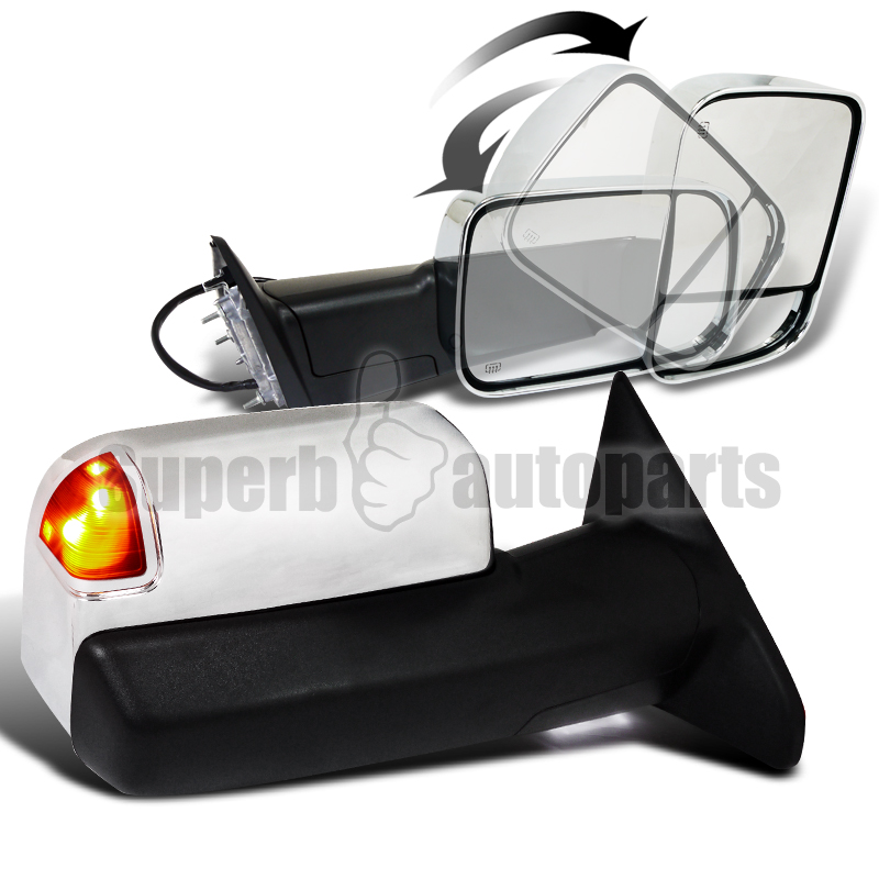 2012 Dodge Ram Heated Tow Side Power Memory Mirror Puddle Light Chrome