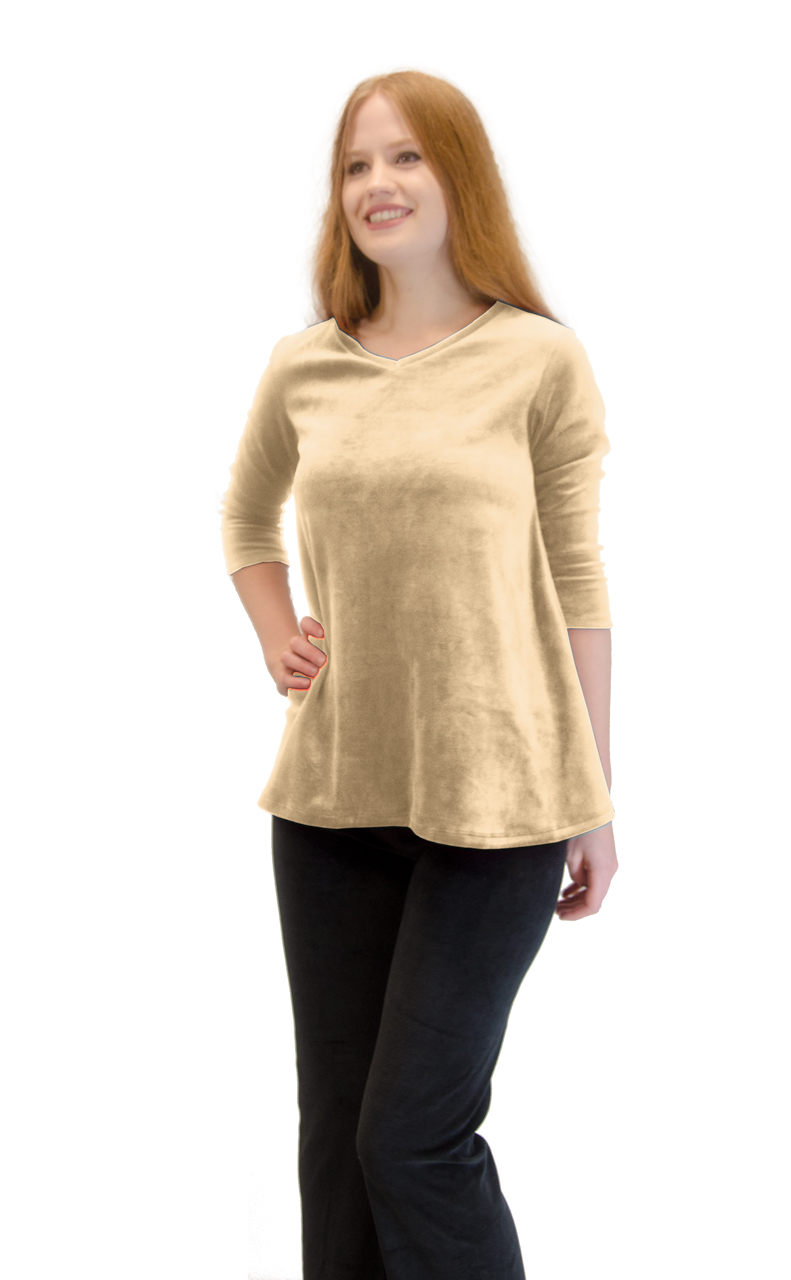 Vivian-039-s-Fashions-Top-Velour-V-Neck-3-4-Sleeve-Top thumbnail 8