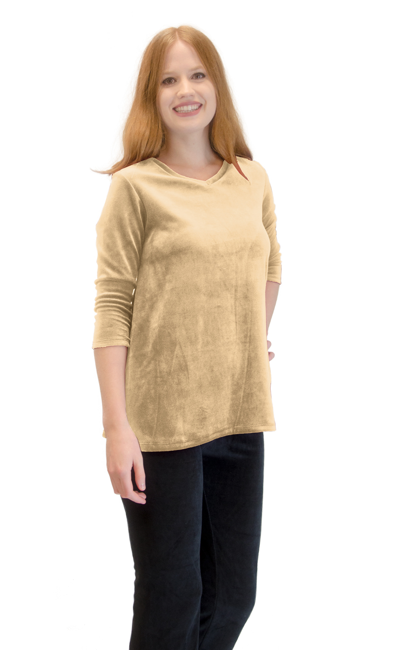 Vivian-039-s-Fashions-Top-Velour-V-Neck-3-4-Sleeve-Top thumbnail 10