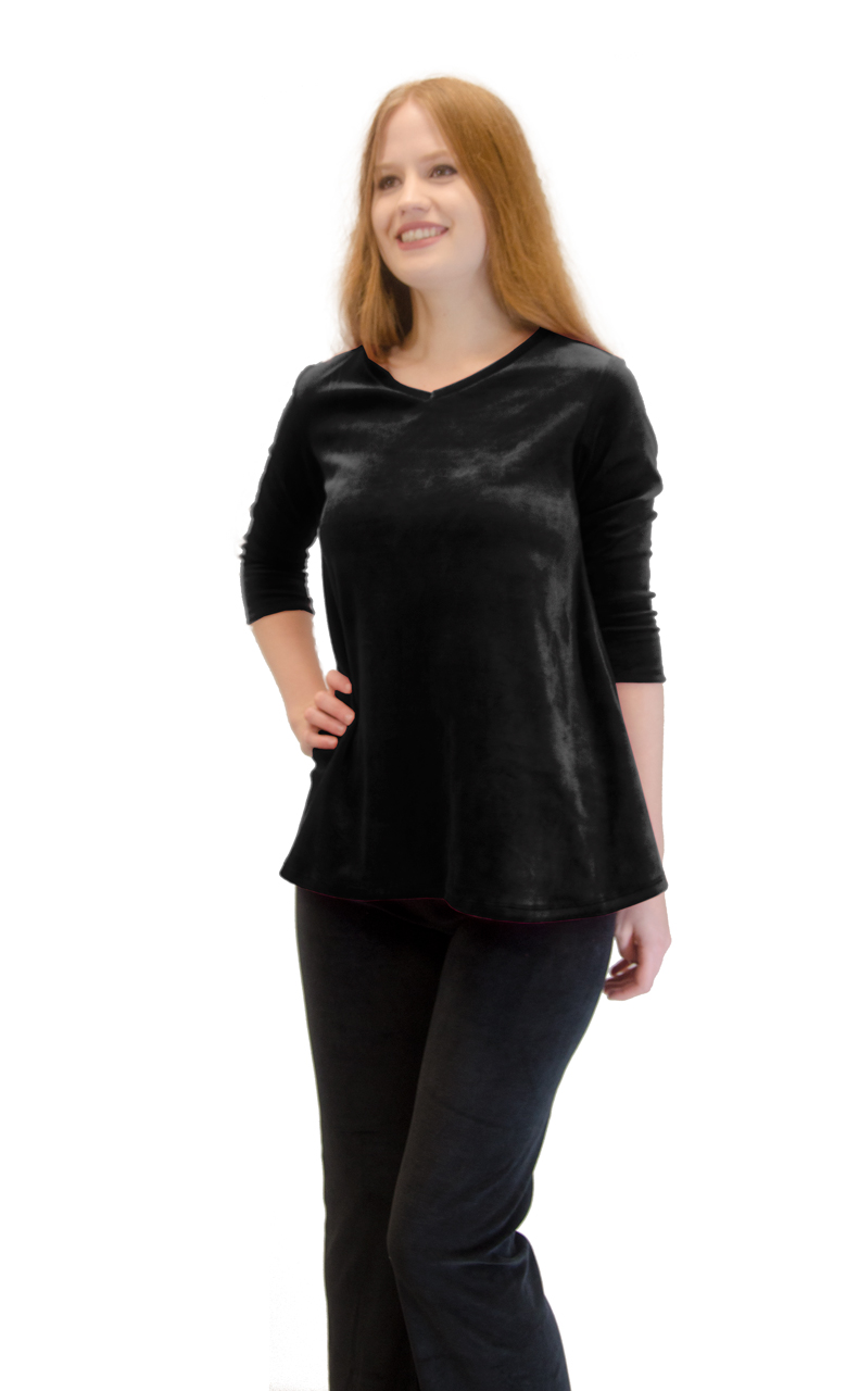 Vivian-039-s-Fashions-Top-Velour-V-Neck-3-4-Sleeve-Top thumbnail 13