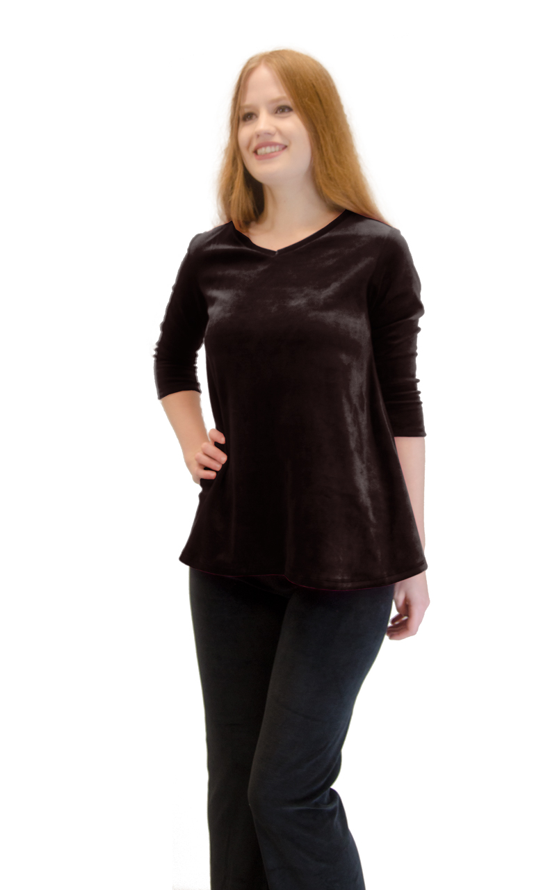 Vivian-039-s-Fashions-Top-Velour-V-Neck-3-4-Sleeve-Top thumbnail 18