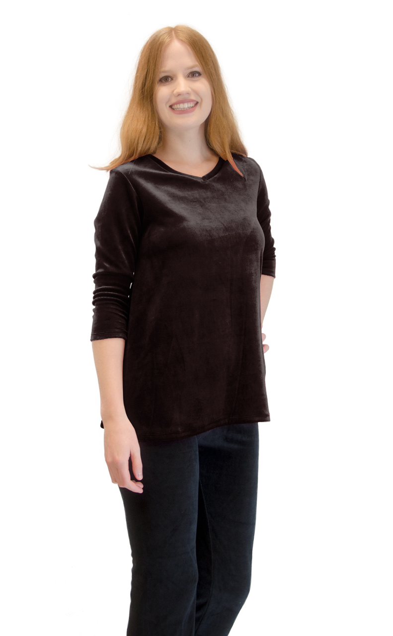 Vivian-039-s-Fashions-Top-Velour-V-Neck-3-4-Sleeve-Top thumbnail 20