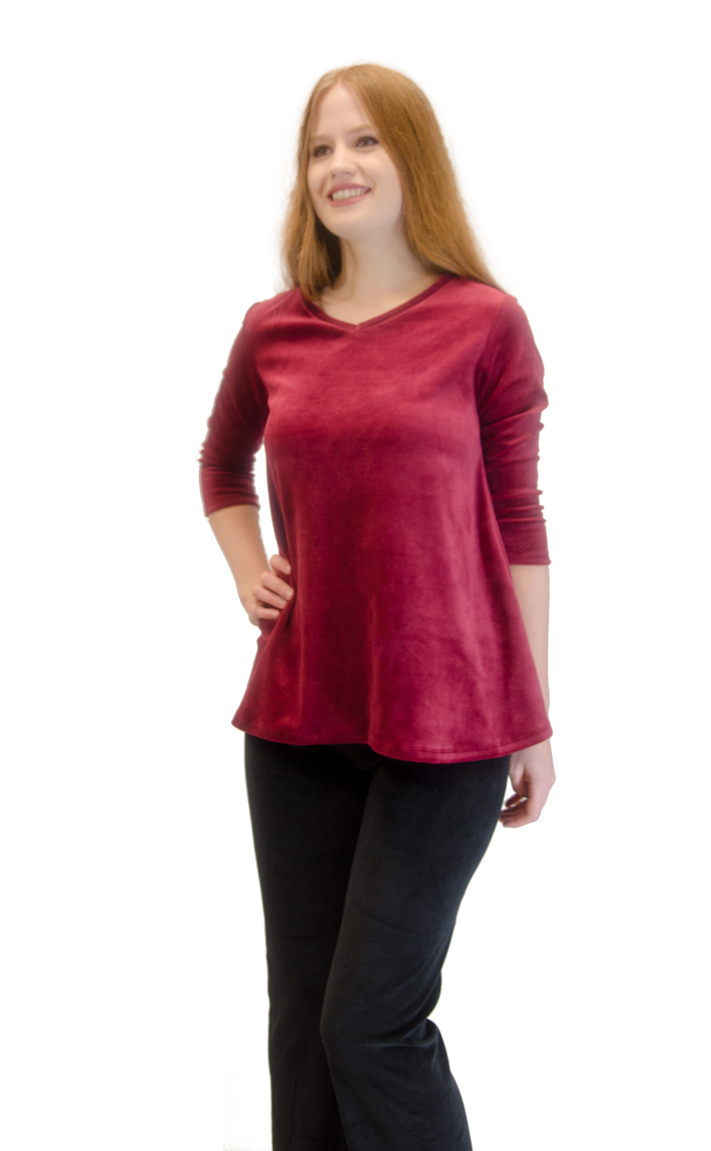 Vivian-039-s-Fashions-Top-Velour-V-Neck-3-4-Sleeve-Top thumbnail 23