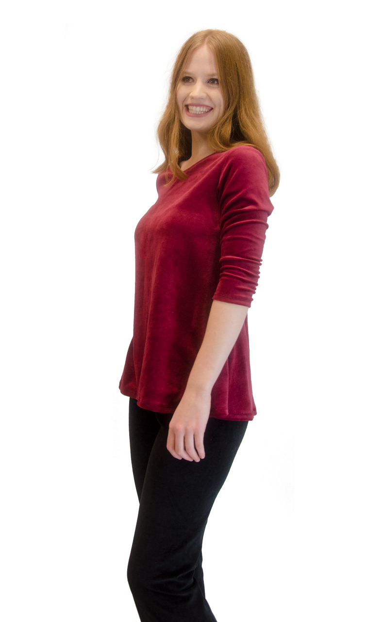 Vivian-039-s-Fashions-Top-Velour-V-Neck-3-4-Sleeve-Top thumbnail 24