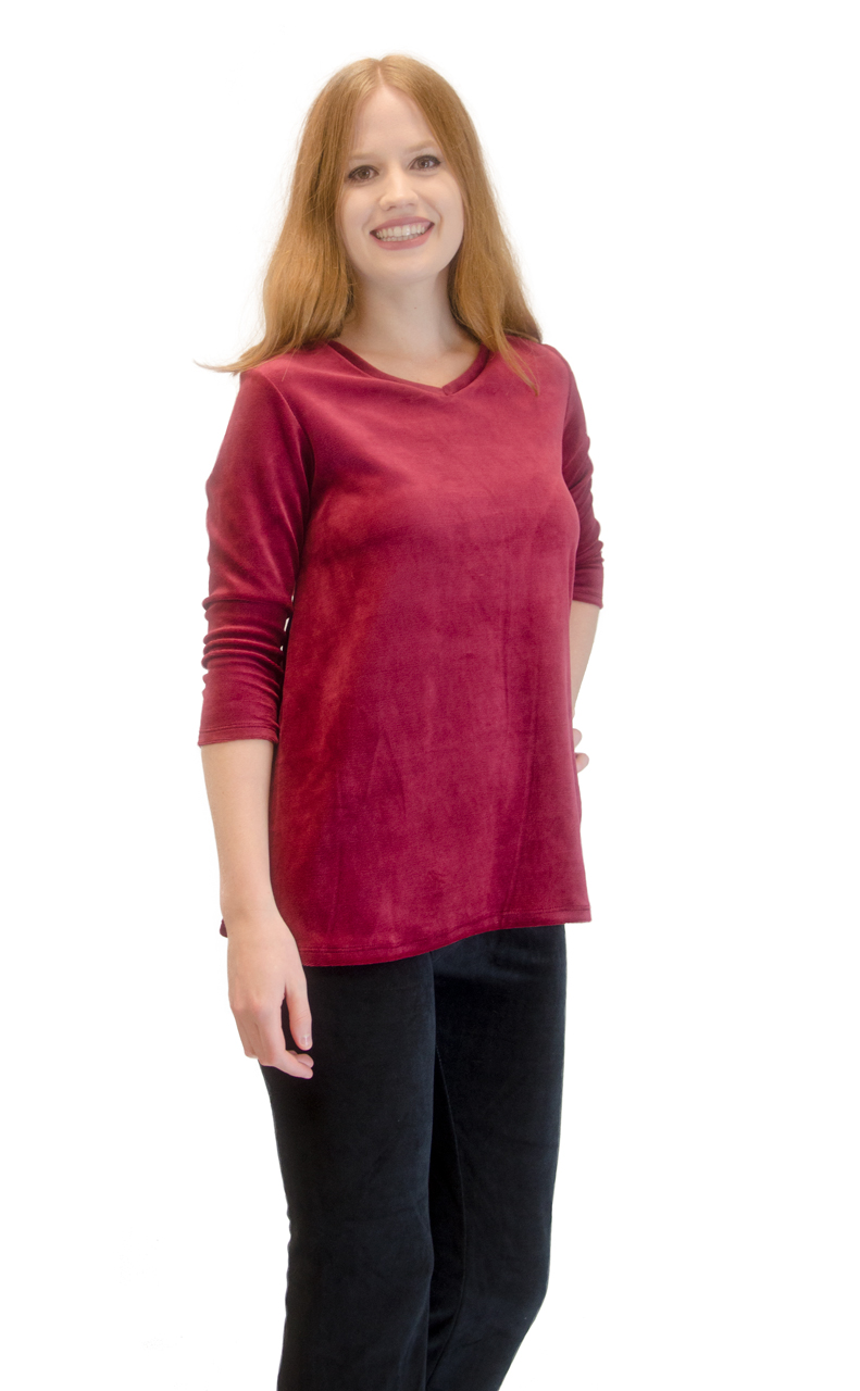 Vivian-039-s-Fashions-Top-Velour-V-Neck-3-4-Sleeve-Top thumbnail 25