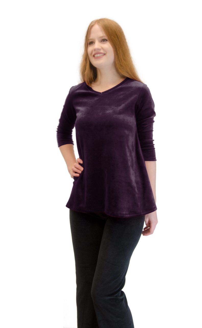 Vivian-039-s-Fashions-Top-Velour-V-Neck-3-4-Sleeve-Top thumbnail 33