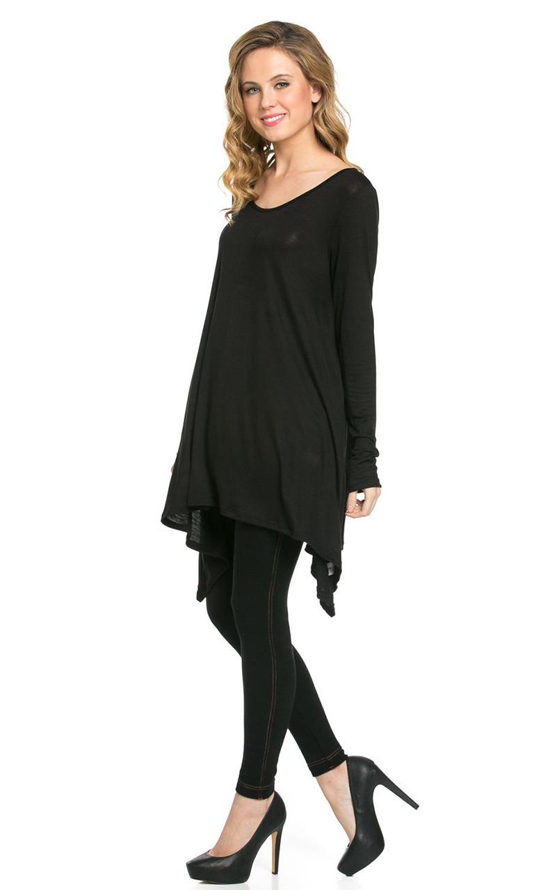 Vivian-039-s-Fashions-Top-Hankerchief-Hem-Long-Sleeve thumbnail 10