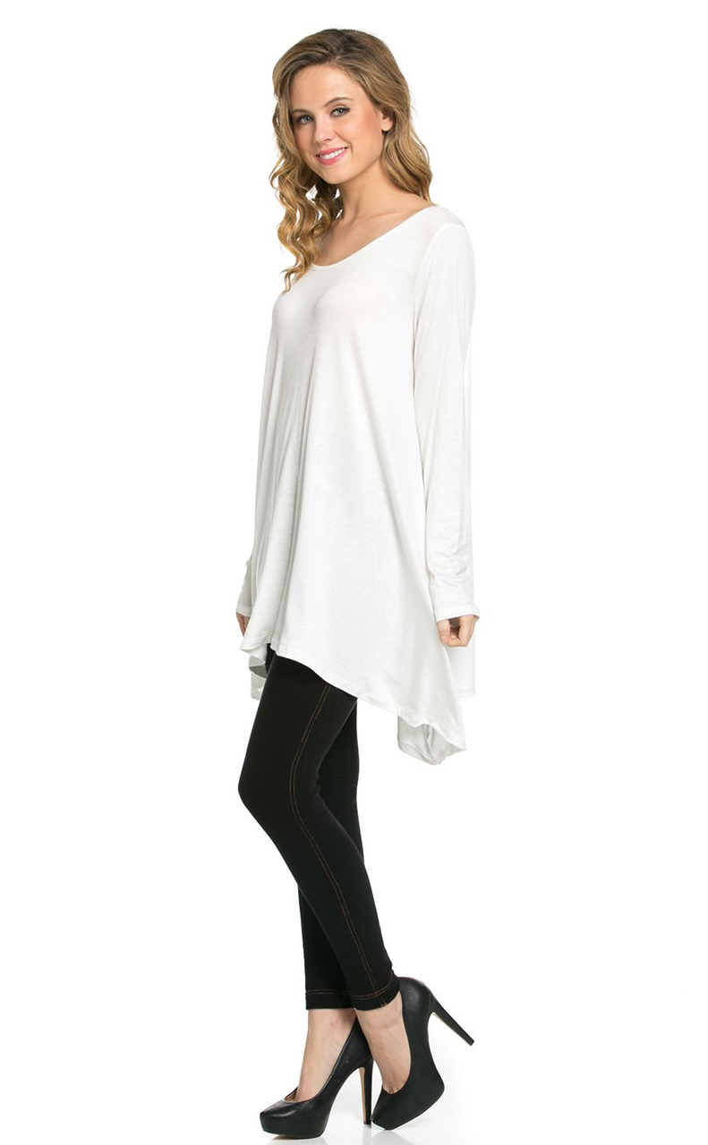Vivian-039-s-Fashions-Top-Hankerchief-Hem-Long-Sleeve thumbnail 18