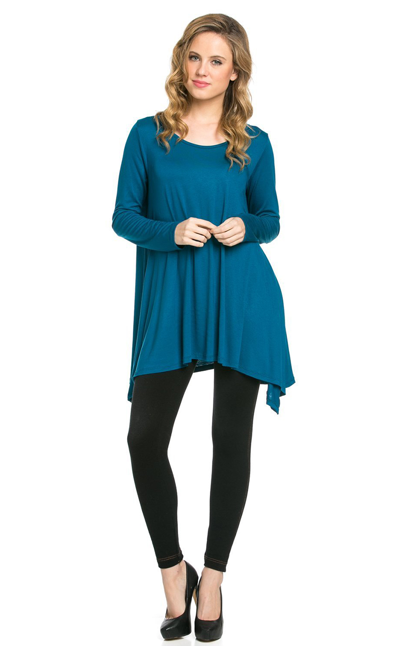 Vivian-039-s-Fashions-Top-Hankerchief-Hem-Long-Sleeve thumbnail 32