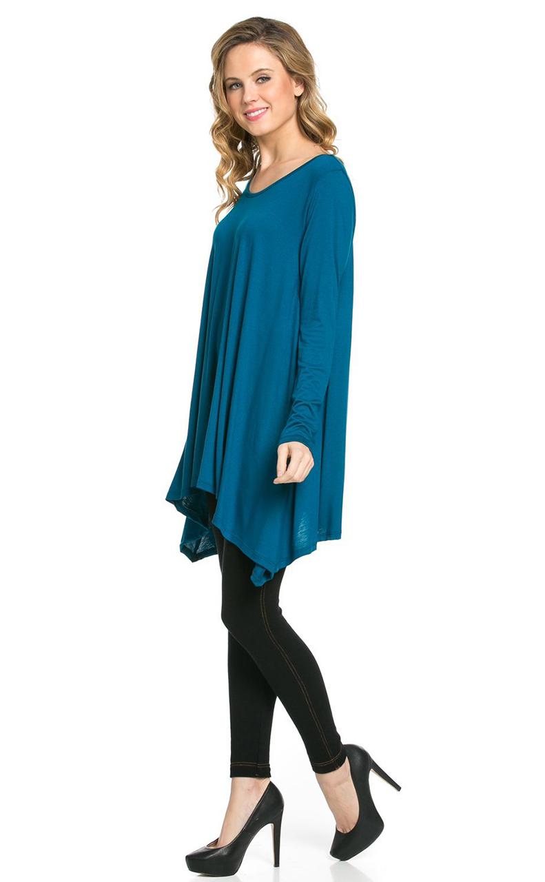 Vivian-039-s-Fashions-Top-Hankerchief-Hem-Long-Sleeve thumbnail 33