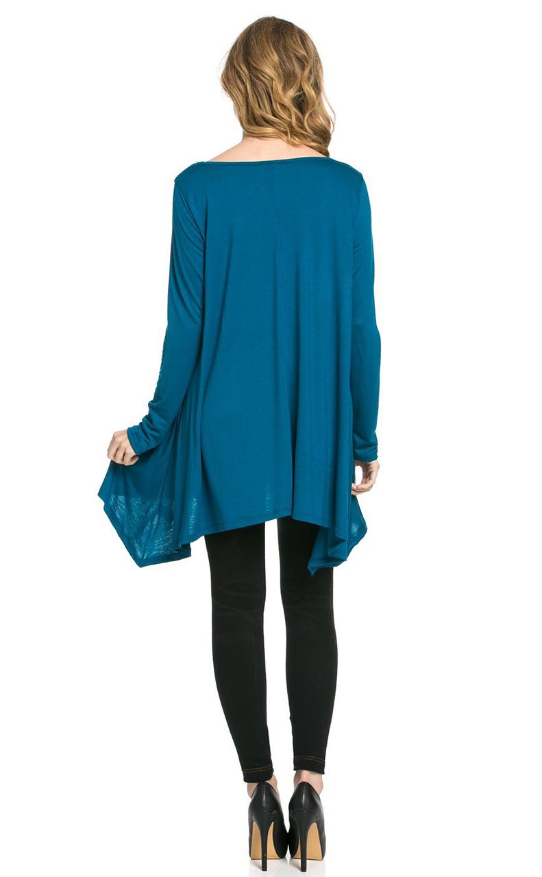 Vivian-039-s-Fashions-Top-Hankerchief-Hem-Long-Sleeve thumbnail 34