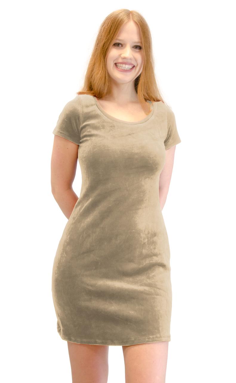Vivian-039-s-Fashions-Dress-Velour-Short-Sleeve-Short-Dress thumbnail 8